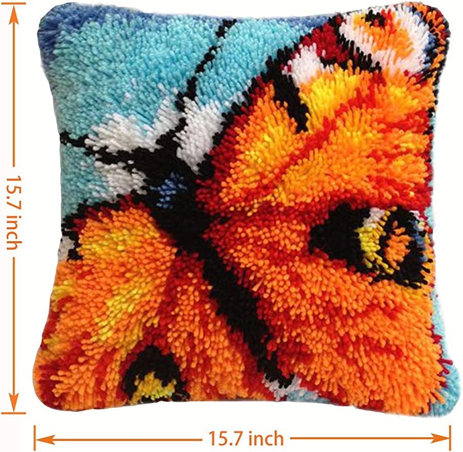 Latch Hook Kits DIY Throw Pillow Cover Rug Pattern Printed Pillowcase Embroidery Needlework Craft Home Decoration Gifts Rabbit2