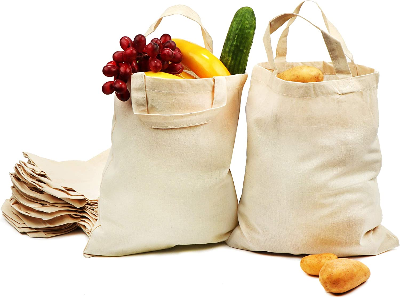 com-four® 12x Bolsa de algodón - Bolsa de Transporte Reutilizable - sin impresión, Ideal para Pintar - Oeko-Tex® Standard 100 (12 Piezas - 28x32cm): Amazon.es: Hogar
