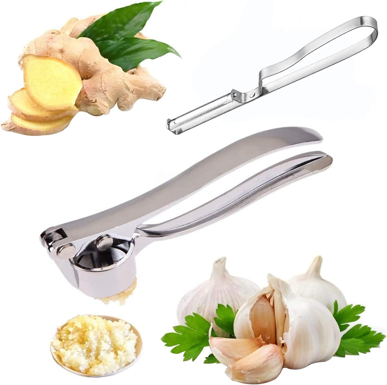 Garlic Press With Vegetable Peeler, Stainless Steel Garlic Press Tool, Manual Masher for Potatoes, Fruits, Vegetables, Yams, Squash, Baby Food and More,Easy Squeeze, Rust Proof, Dishwasher Safe
