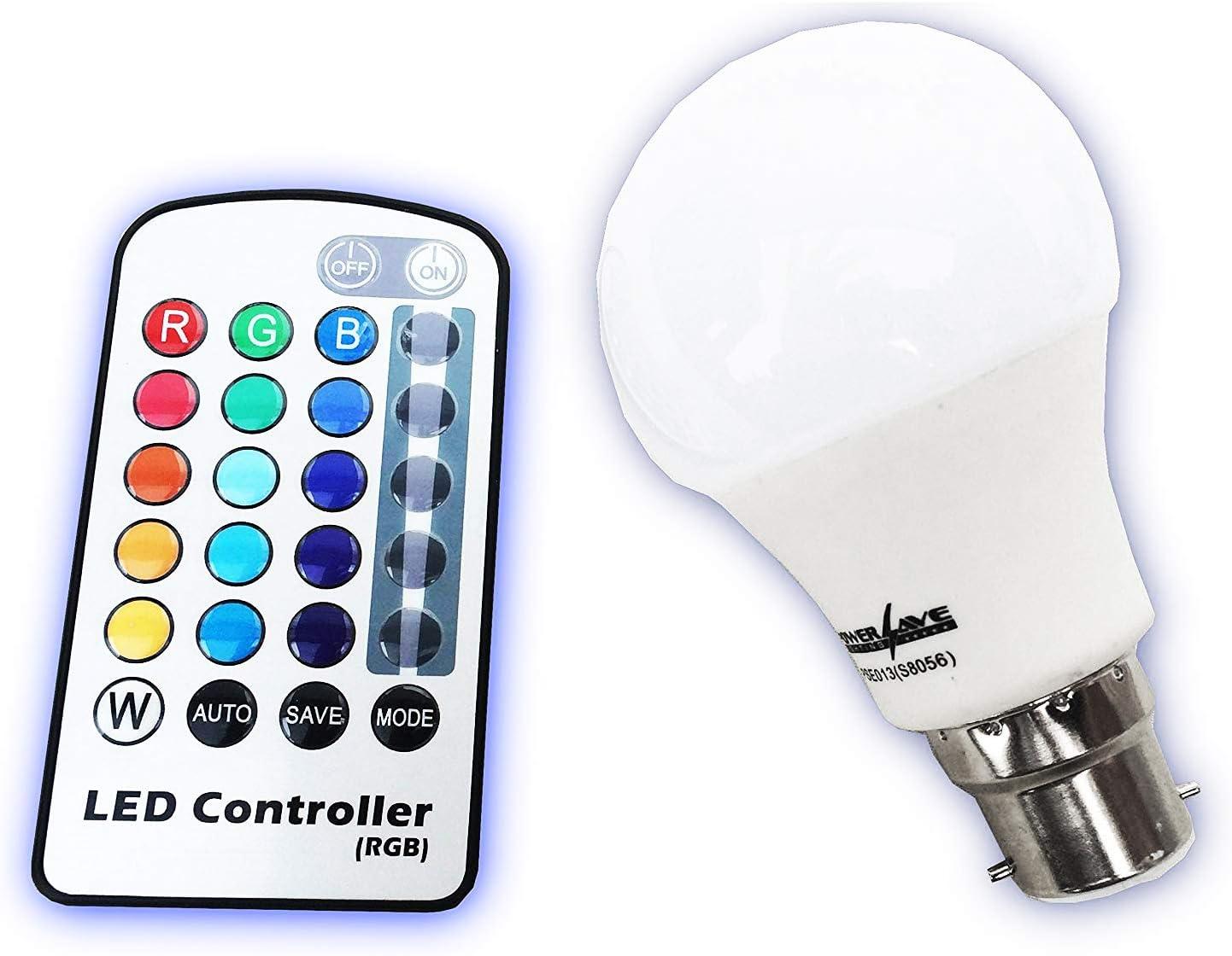 PowerSave® Bayonet Cap (BC/B22) Remote Control LED Colour Changing ...