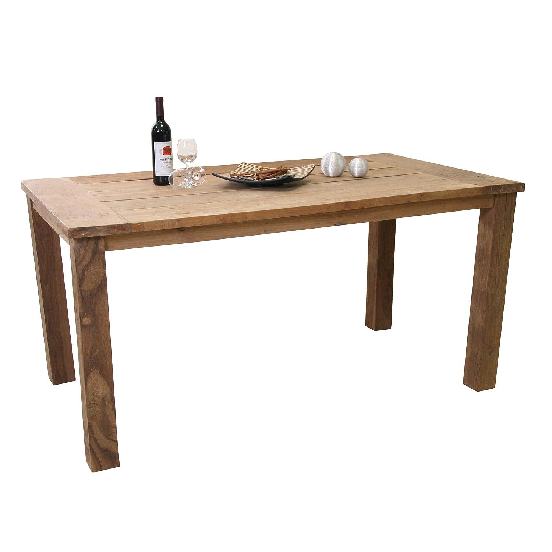 Amazon de ribelli teaktisch sobura holztisch gartentisch aus recyceltem teak gartenmöbel tisch mit rustikaler oberfläche widerstandsfähig und
