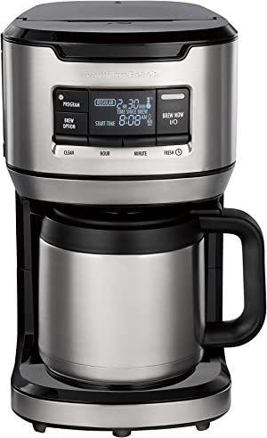 Hamilton Beach Programmable Front-Fill Coffee Maker with Thermal Carafe (46391), 12 Cup Capacity, Black and Stainless