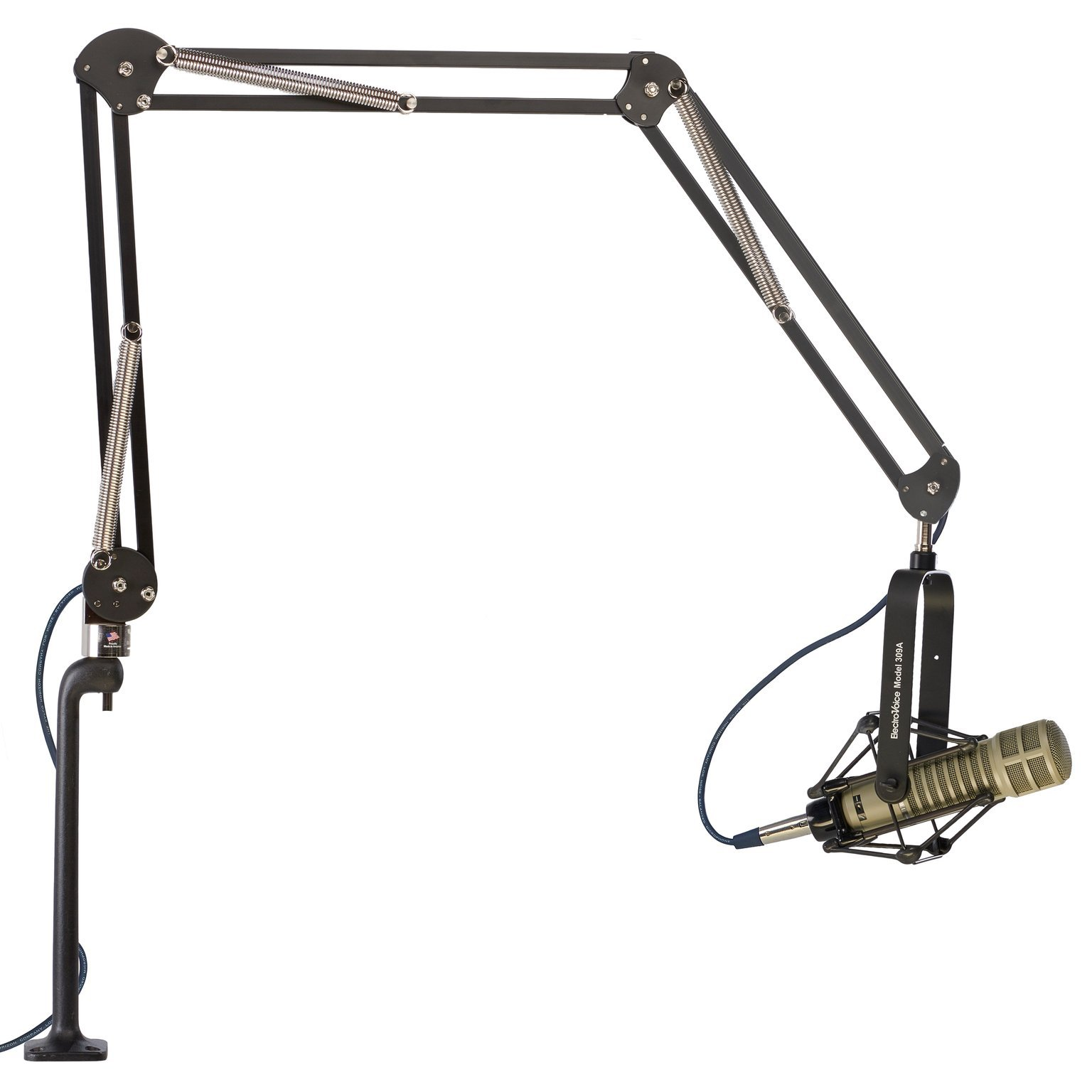 ProBoom 52900-B Elite 3-Arm Extended Microphone Arm with 12'' Cast Aluminum Riser, 46.5'' (118.1 cm) Reach, Holds Up to 2.5 lbs., Black/Chrome