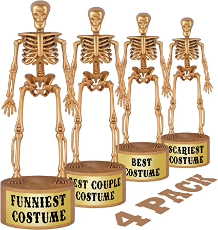 ORIENTAL CHERRY Halloween Party Supplies Golden Skeleton Trophies for Kids Costume Contest Awards Prizes 4 Pack