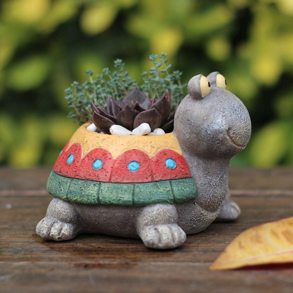 Peyan Cute Turtle Succulent Pots with Drainage Resin Mini Flower Pot Garden Plants Vase Desk Flower Decoration Best Gift for Children's Day
