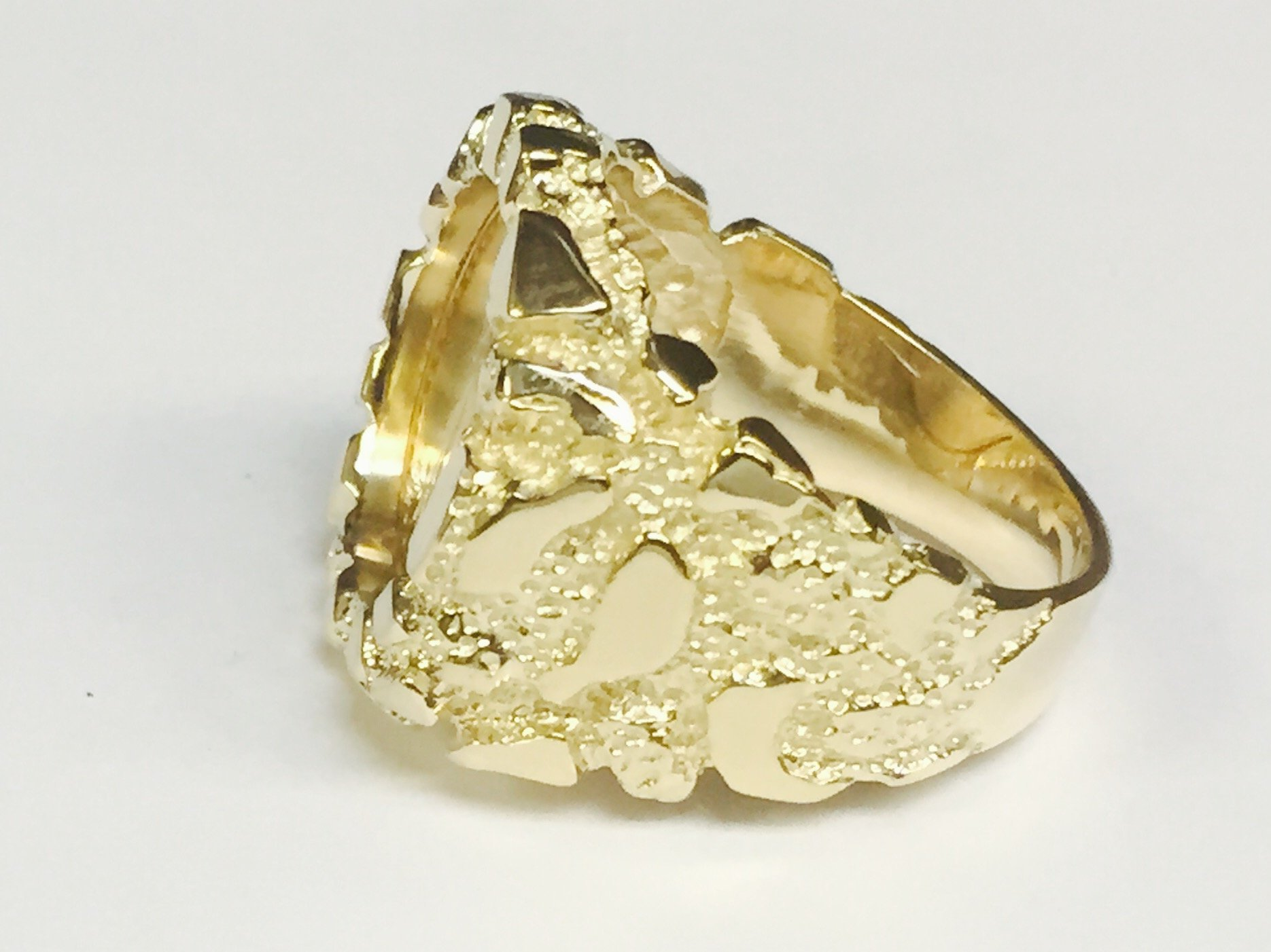 14K Gold Men'S 21 Mm Nugget Coin Ring With A 22 K 1/10 Oz American Eagle Coin - Random Year Coin by TEX (Image #3)