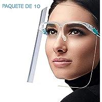 Simonetta Vespetti Paquete de 10 Caretas Faciales Protectoras de Ojos, Nariz y Boca con Cómoda Forma de Lentes, Totalmente Transparente. Comodidad, Reutilizable y Lavable