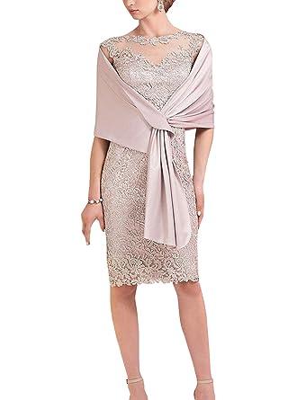 ShineGown Etuikleid aus Spitze mit hellrosa Schal für die