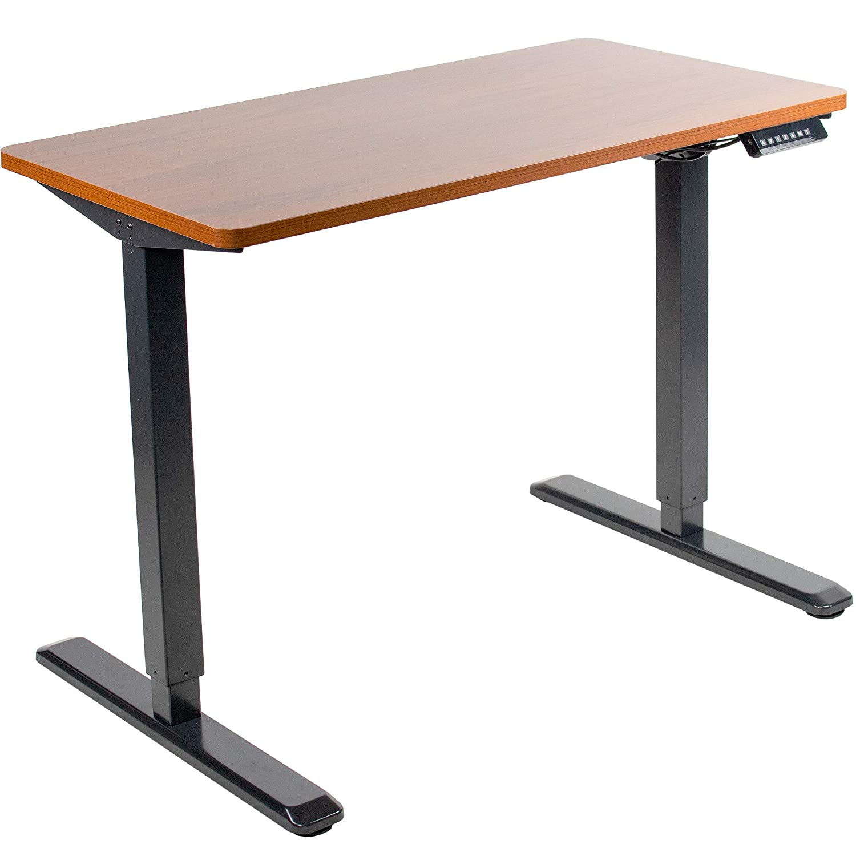 VIVO Electric 43 x 24 inch Stand Up Desk   Dark Walnut Table Top, Black Frame, Height Adjustable Standing Workstation with Memory Preset Controller (DESK-KIT-1B4D)