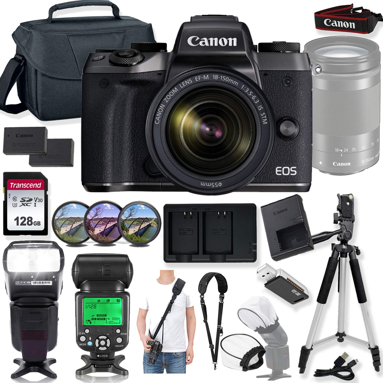 Canon EOS M5 Mirrorless Digital Camera and 18-150mm Lens w/High Speed Flashlight + Prime Accessory Bundle