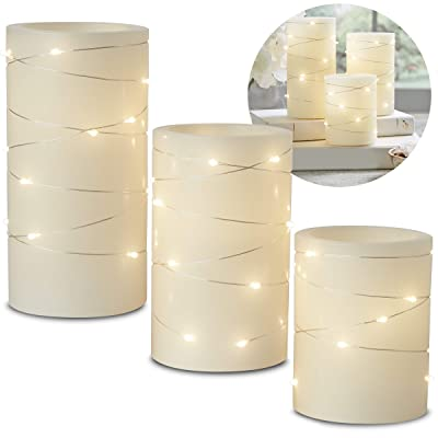 Laura Ashley 3-Piece LED Candle Set with Daily Timer, Flameless Candles, Made of Real Wax, Battery Powered Electronic Candlelight, Embedded String Lights Stay Lit, Tiered Pillars: Home Improvement