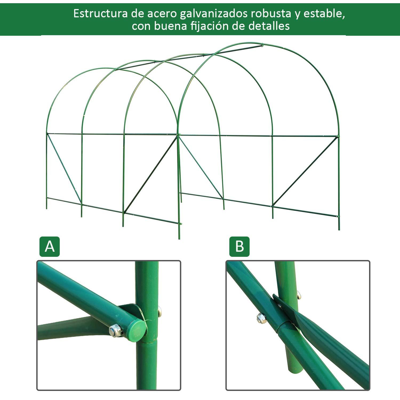 Outsunny Invernadero Caseta Verde Acero Plastico 350 x 200 x 200cm: Amazon.es: Jardín