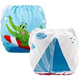 ALVABABY 2pcs Swim Diapers Reuseable Adjustable One Size for Baby Gifts & Swimming Lessons ((Blue & Alligator, 0-2 Years) DYK39-40