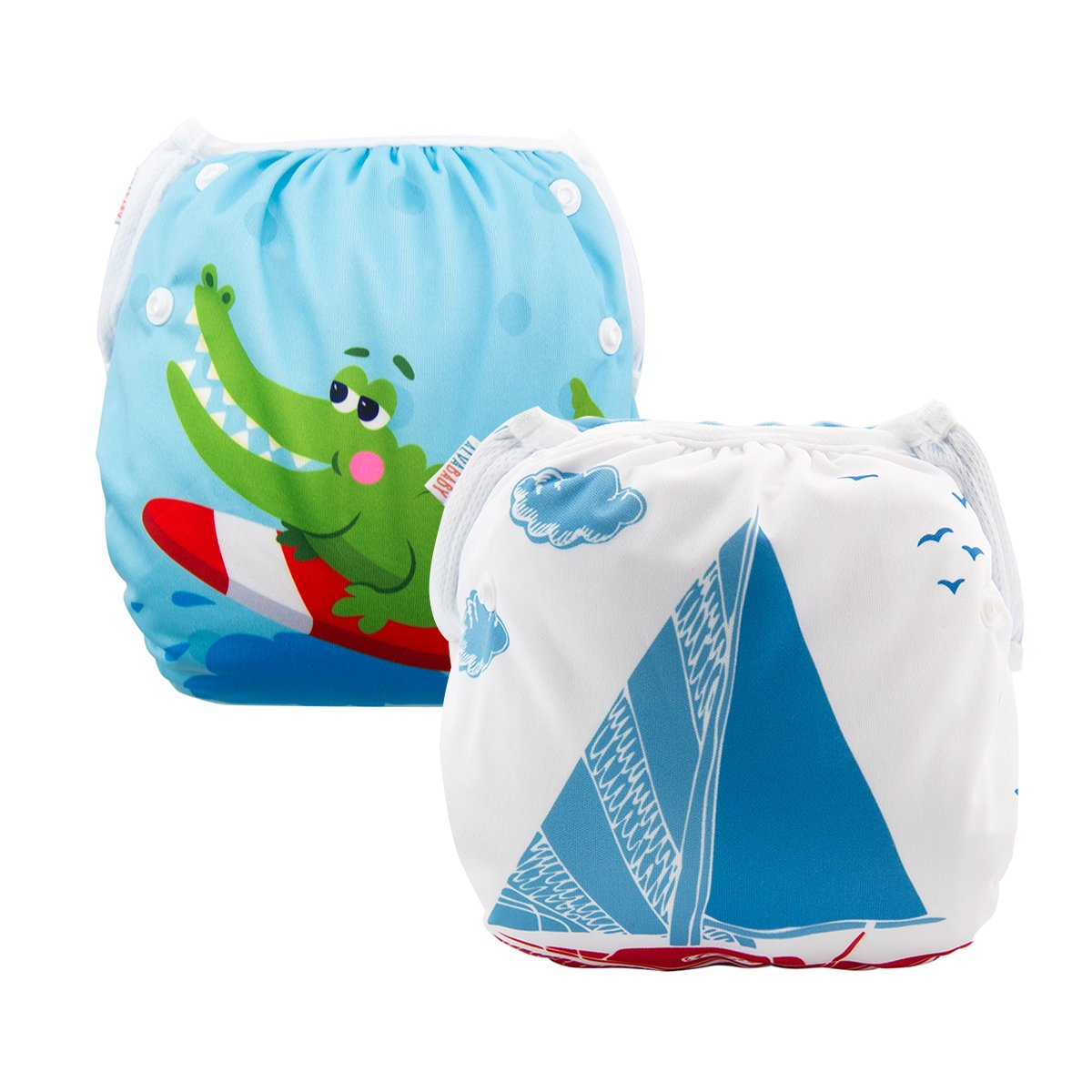 ALVABABY 2pcs Swim Diapers Reuseable Adjustable for Baby Gifts & Swimming Lessons SWB