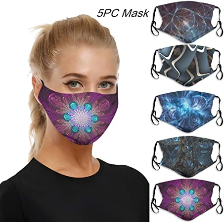 5PC 5 Pack Made in USA Washable Face M/àsc Bandanas Cotton Double Layer Reusable Fashion Protective Anti-Dust Thin Breathable Facial Scarf Face Health Protection For Pollen Outdoor for Adults