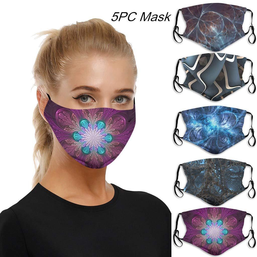A-5PC yxcmeoa 5PC Face Cotton Cloth Washable Reusable Unisex Face Bandana Scarf Outdoor Face Madks