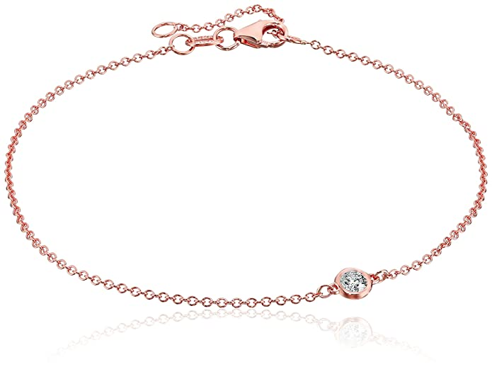 Amazon Com 14k Rose Gold Solitaire Bezel Set Diamond With Lobster