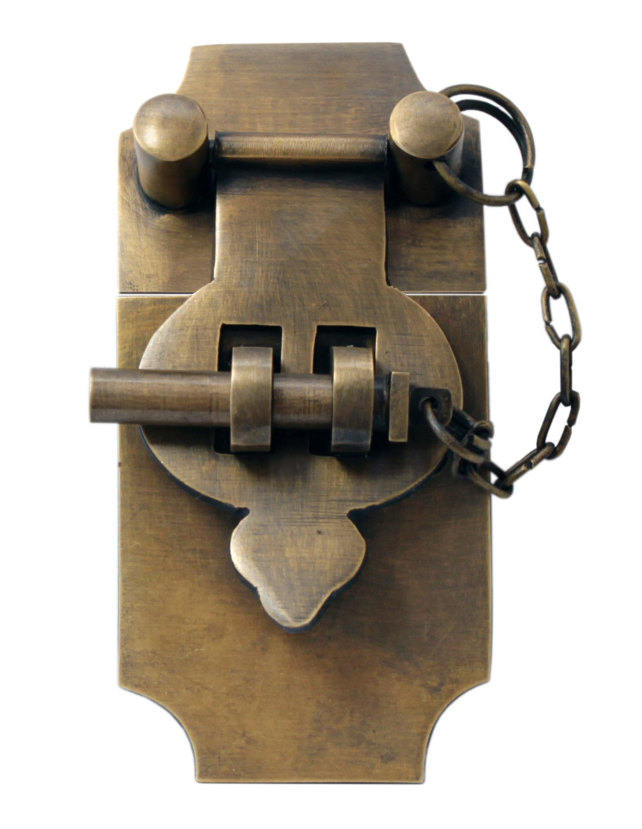 4 Inch Large Antique Style Trunk Hasp with Chain Pin by Nesha