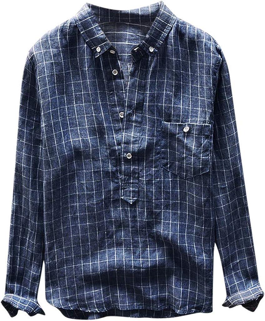 Gusspower Hombre Camisa a Cuadros Manga Larga Transpirable Camisetas Retro holgadas con Bolsillo Delantero Camisa Casual de Verano Collar de Solapa Tallas Grandes Camisa de Playa Tops Blusa