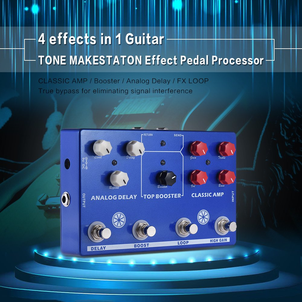Multi-effects 4-in-1 Guitar TONE MAKESTATON Effect Pedal Processor CLASSIC AMP Booster Analog Delay FX LOOP EQ by Godyluck