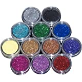 EZI 12 Mix Color Nail Art Acrylic Glitter Powder Dust Tips Decoration Tool # 5501450