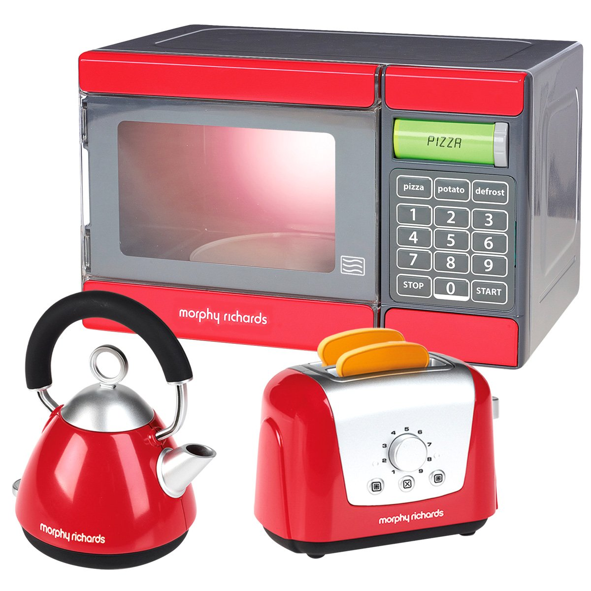 Casdon Little Cook Morphy Richards Toy Kitchen Set Red Microwave //Toaster //Kettle Educational Toy Age 3-8 Years by Charles Bentley