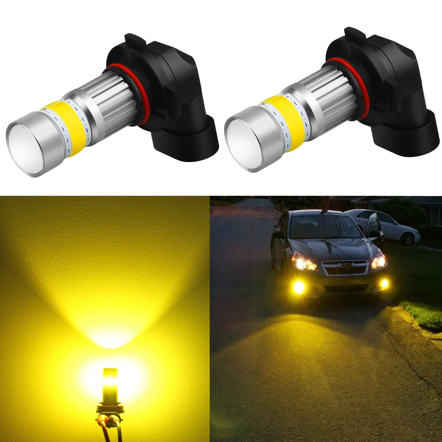 Alla Lighting 2800lm Xtreme Super Bright 9006 LED Bulbs Fog Light High Illumination COB-72 LED 9006 Bulb HB4 9006 Fog Lights Lamp Replacement - 3000K Amber Yellow