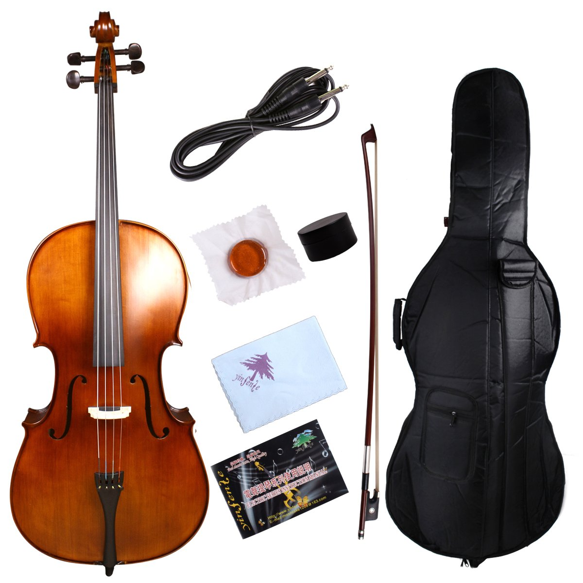 Yinfente Electric Acoustic Cello 4/4 Solid Maple Spruce wood Ebony Fittings Sweet Sound With Cello Bag Bow (Brown) by yinfente (Image #1)