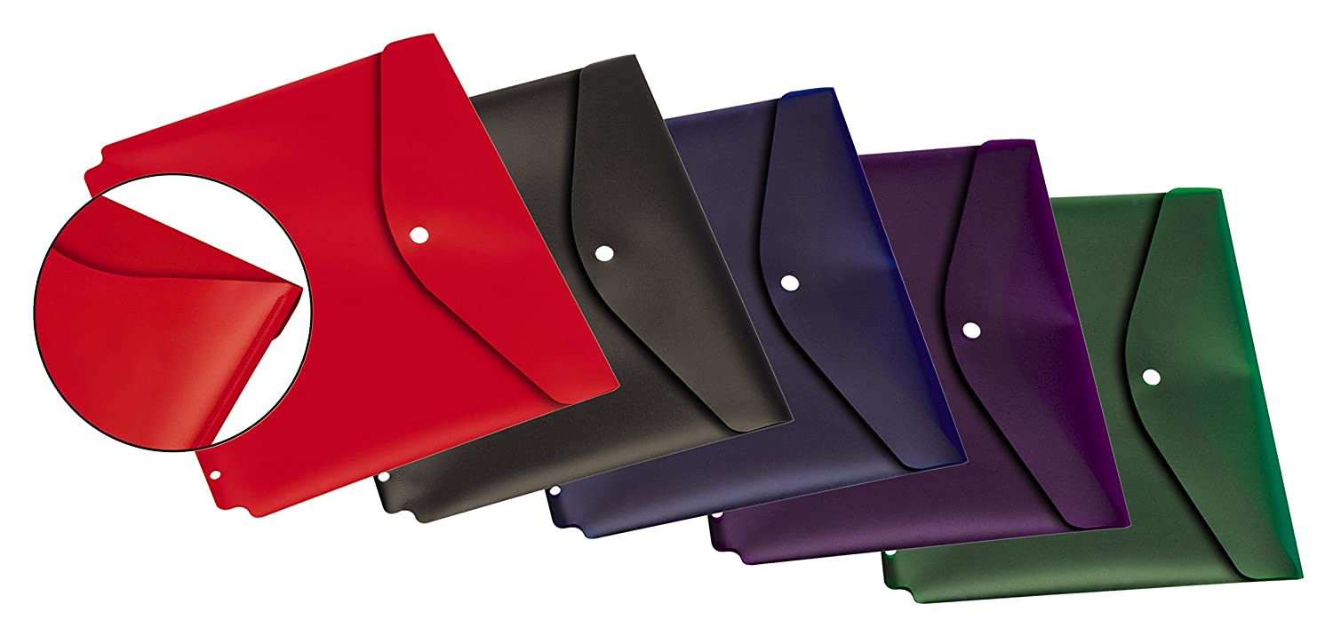 14950 Assorted Colors Letter Size Cardinal Dual Pocket Snap Envelope with Binder Holes 5 per Pack