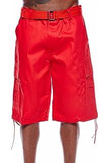 0829dd8514 Henry & Williams Mens Basic Belted Cargo Shorts Big Mens Plus Size Urban  Hip HOP Long