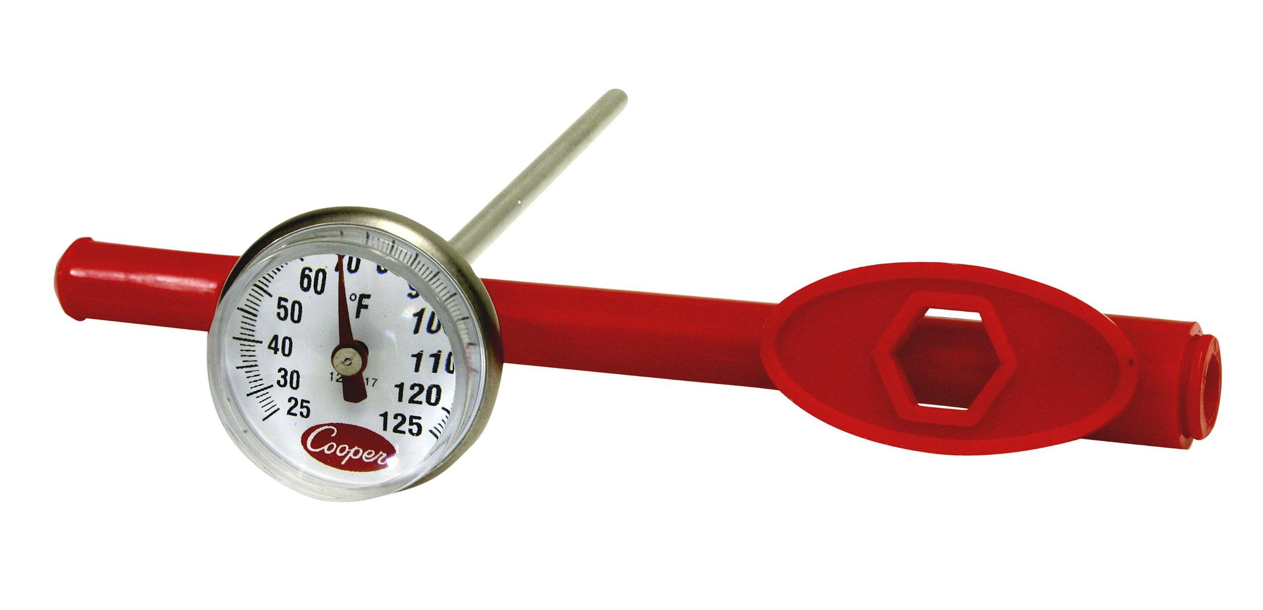 Cooper-Atkins 1236-17-1 Bi-Metal Pocket Test Thermometer with Adjustment Sheath, 25/125°F Temperature Range
