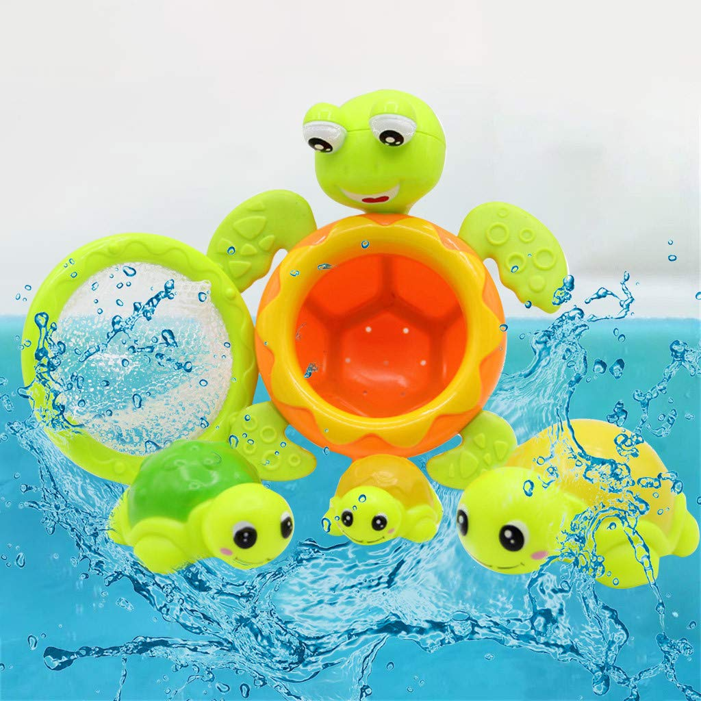 Aliturtle 4pcs Baby Bath Toys Turtle Wind Up Toys Bathing Water Toys Swimming Tub Bathtub Pool Cute Swimming for Boys Girls Kids Toddler Child Bath Time Fun by Aliturtle