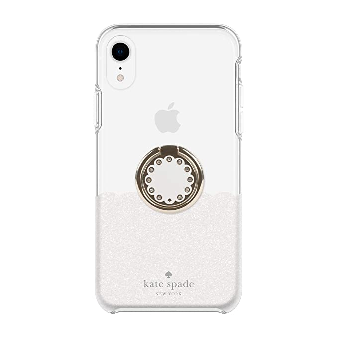 on sale 0da0f 48372 Kate Spade New York Gift Set Bundle | for Apple iPhone XR | Protective  Phone Case [Scalloped (White Glitter/Clear)] and Stability Ring Stand ...