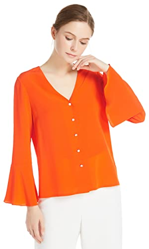 Lilysilk Blusa de Seda Estilo Dulce-Camisa 100% Seda Natural 18MM,Super Suave Y Transpirable
