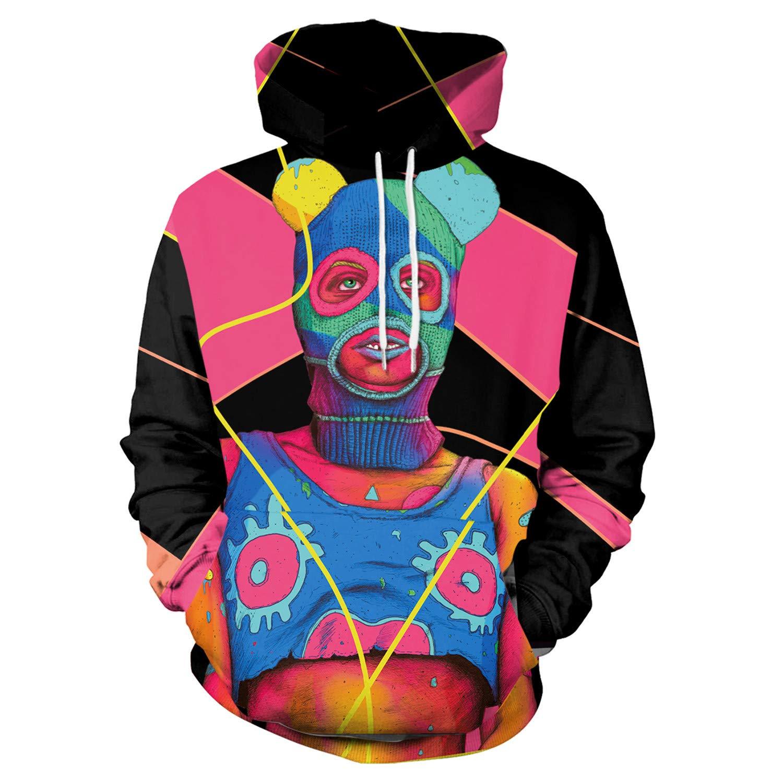 Mrsrui Casual Long Sleeve Hoodie Pullover Sweatshirt - 3D Graphic Printed by Mrsrui