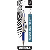 Zebra F-301 Ballpoint Stainless Steel Retractable Pen Fine Point, 0.7mm, Blue Ink