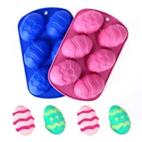 6Holes Easter Egg Shaped Silicone Cake Mold, Trays Cooking Supplies for Chocolate, Candies, Ice Cube Trays Baking Molds Dome Mousse and DIY,Food Grade Silicone,Non-stick (2pcs-Pink/Blue)