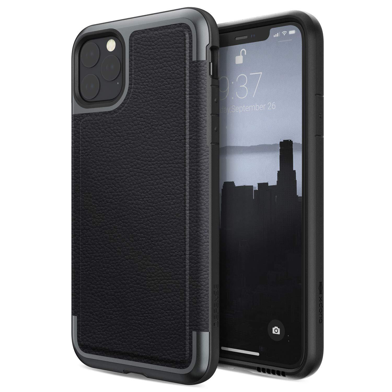 Funda Resistente Cuero Y Aluminio iPhone 11 Pro Max, Negro