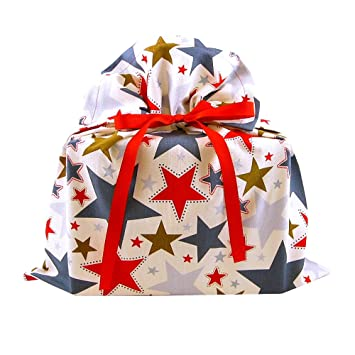 Stars II Reusable Fabric Gift Bag For Birthday Graduation Or Any Occasion Medium