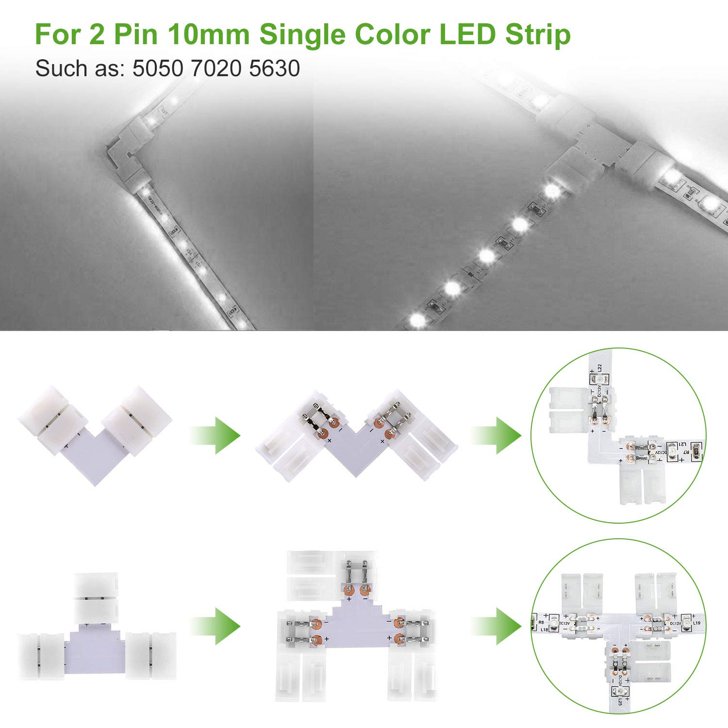Traki 2 Pin 10mm 5050 Led Strip Connectors Kit Includes 10pcs Wireclip For Wiring Light Strips Photo 3 Jumper 8pcs Right Angle Corner Solderless L Shape And 2pcs T