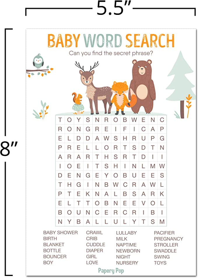 Baby Shower Word Search
