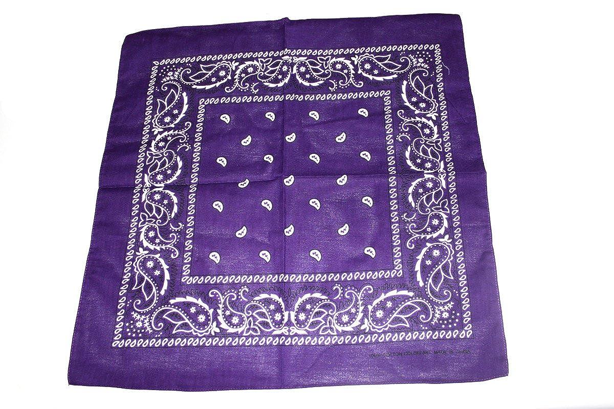 [UK SELLER] BANDANA HEAD SCARF SCARVES PAISLEY MANY COLOURS 100% COTTON (Purple)