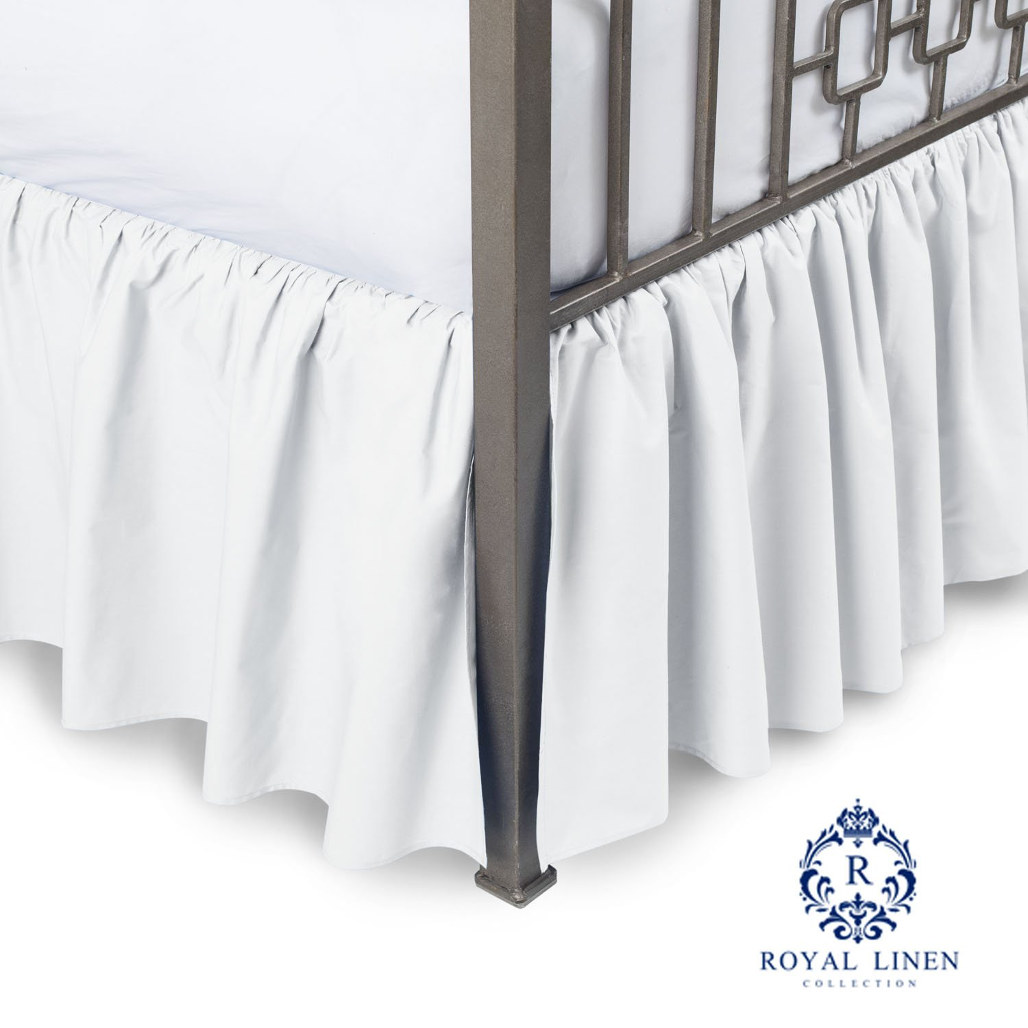 Royal Linen Collection Hotel Quality 800TC Pure Cotton Dust Ruffle Bed Skirt 18'' Drop length 100% Natural Cotton California King Size White Solid