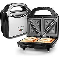 Aigostar Cieplo Steel 30CEX - Sandwichera Electrica con Capacidad para 2 Sándwiches Tostados de 700W. Acero inoxidable. Antiadherente 2 Sandwiches y 2 Indicadores Luminosos. Calidad y garantía propia. Libre BPA.