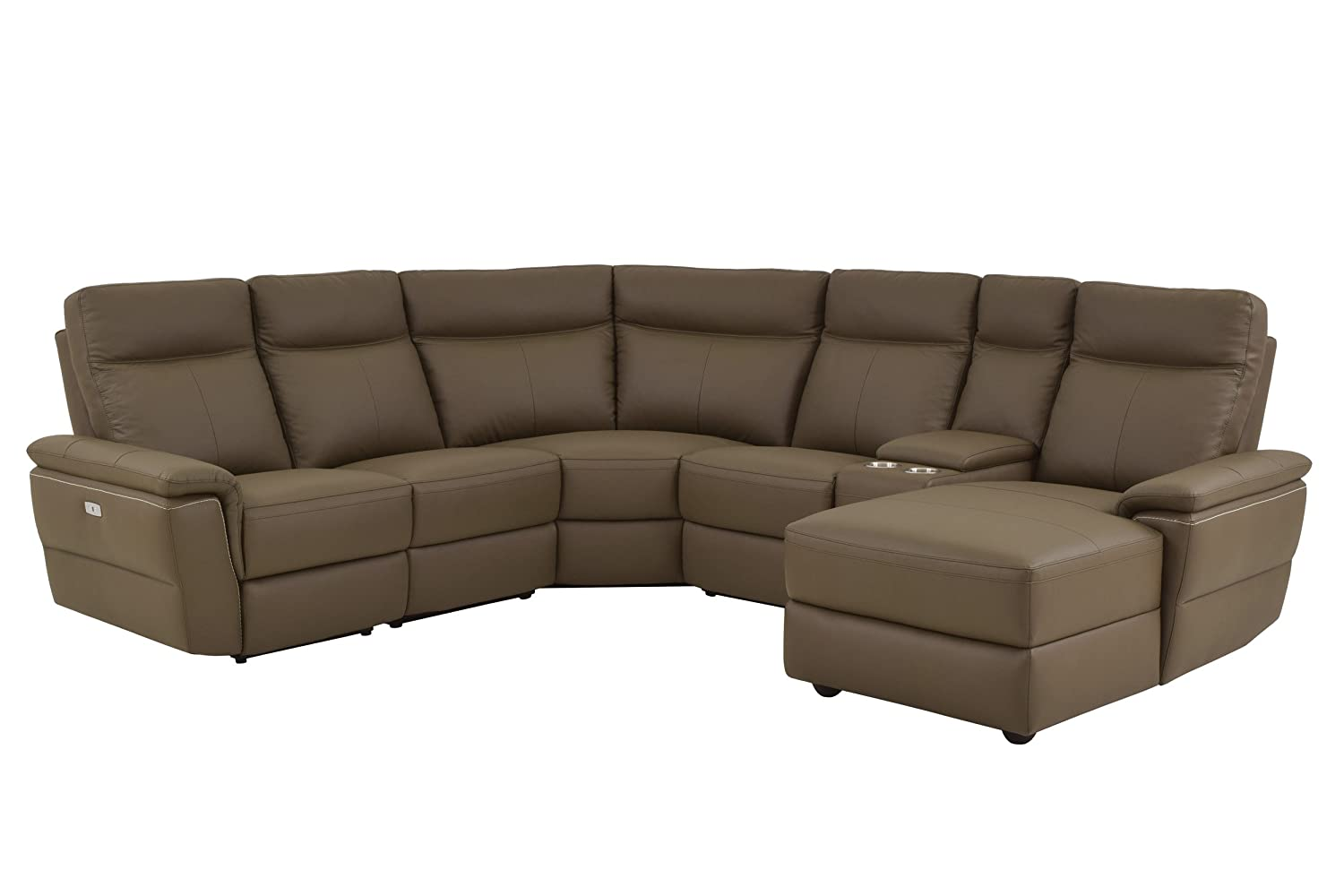 Homelegance Olympia 6-Piece Power Reclining Sectional Sofa with Left Side  Chaise, USB Charging Port and Cup Holder Console Top Grain Leather Match,  ...