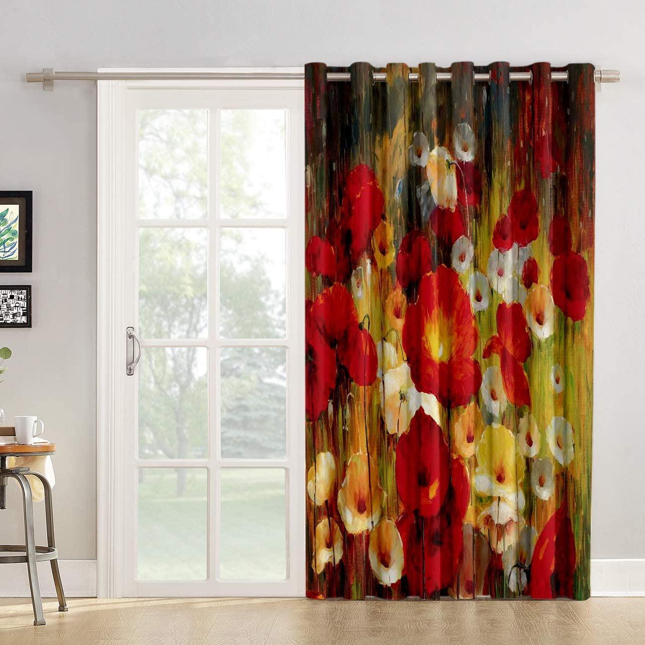 Kitchen Tier Curtains 96 inch Length Chic Window Drapes Panel for Living Room Bedroom Retro Poppy Flower Floral Painting Style Red Yellow Patterned Fabric Curtain for Sliding Glass Door Patio Door