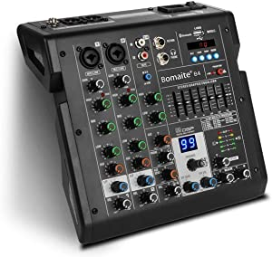 Bomaite B4 Portable 4-Channel Mixing Console Mixer 7-band EQ Built-in 48V Phantom Power Supports BT Connection USB MP3 Player for Computer Recording, Bands