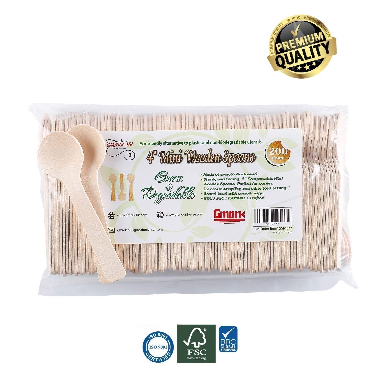 Gmark Eco-Friendly 4'' Mini Wooden Spoons 200 ct, Biodegradable Compostable Birchwood (200pcs/bag) GM1042 by Gmark (Image #2)