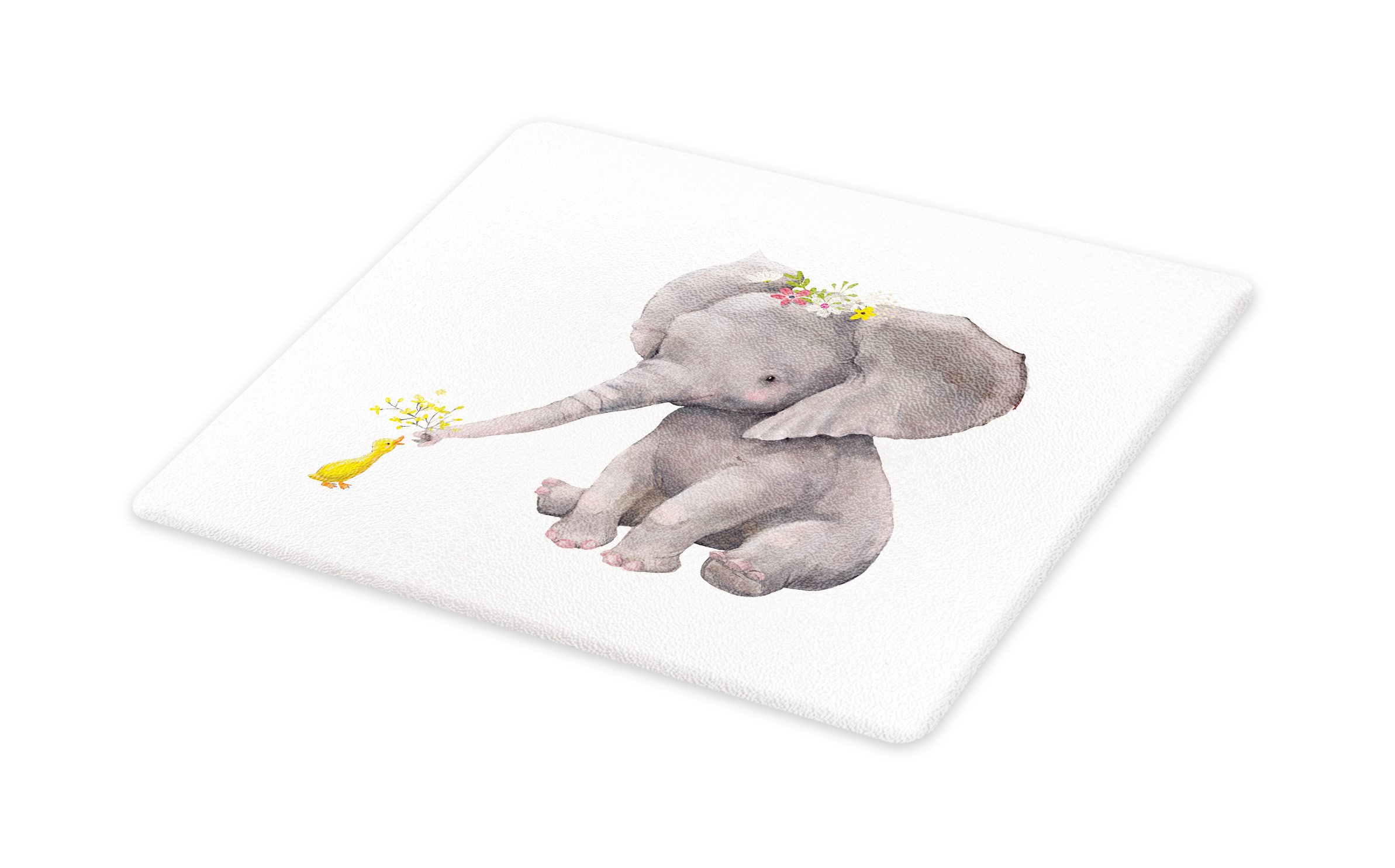 Lunarable Elephant Cutting Board, Cute Baby Elephant Giving Flowers to a Little Duck Watercolor Animal Illustration, Decorative Tempered Glass Cutting and Serving Board, Small Size, Multicolor