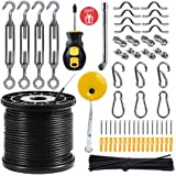String Light Hanging Kit with 164 Ft Nylon Coated Stainless Steel 304 Wire Rope, String Lights Suspension Kit Included…